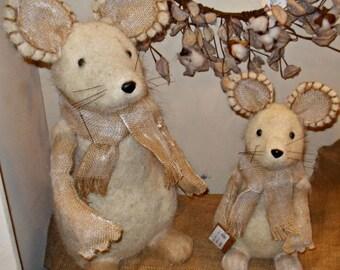 """SALE!!! 12"""" Bristle Mouse w/ Burlap Scarf/Wreath Supplies/Fall Decoration/FX59865SM"""