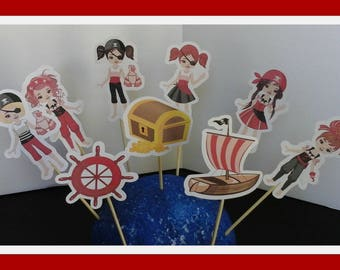 Pirate Boy Cupcake Toppers===Pirate Girl Cupcake Toppers ===Set of 12... Choice of one side or two sided pick