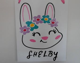 Decorative Sign - Canvas Sign-Vinyl Sign-Easter Bunny-Easter Rabbit-