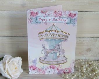 Carousel Horse Card, Happy 1st Birthday, Merry Go Round, Vintage Circus, 1st Birthday Card, Birthday Card, Merry Go Round