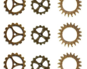 set of 9 charms Steampunk color bronze