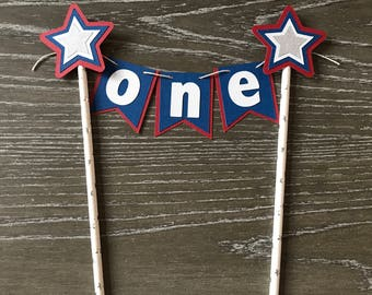 4th of July cake topper Patriotic cake topper Red White and Blue Cake Banner USA party Decor American Flag Cake Smash Decoration