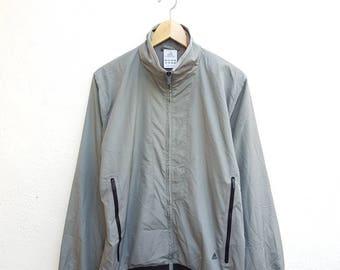 Vintage 90s Adidas Sportswear Gray Back 3 Stripes Zipper Windbreaker Jacket Size M