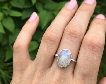Moonstone Ring, sterling silver moonstone ring, rainbow moonstone ring, dainty moonstone ring, oval moonstone ring, MADE TO ORDER