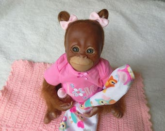 "Reborn Newborn Realistic Weighted, Awake ""Orangutan Bindi"" from Bountiful Baby No magnets FREE SHIPPING"