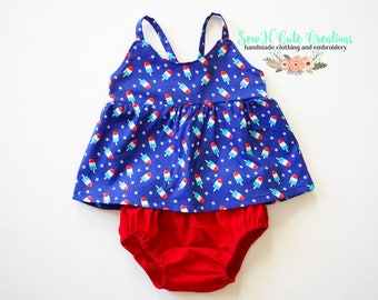 Popsicle Set, Red White & Blue, Bloomers, Top, Summer, Patriotic, 4th of July Outfit, Hummingbird, Ice Cream, Diaper Cover
