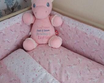 A beautiful magical unicorn cot cot bed bumper bedding set
