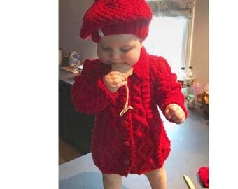 Girl jacket, handknitted coat, knitting hat beret or headband