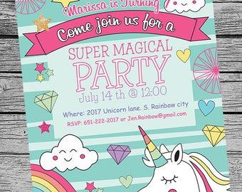UNICORN Birthday party invite, printable invitation customized