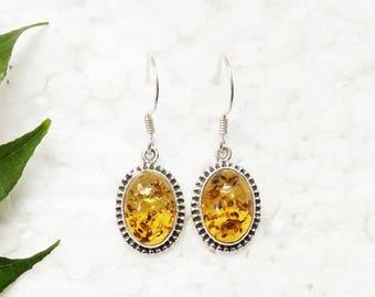 Awesome BALTIC AMBER Gemstone Earrings, Birthstone Earrings, 925 Sterling Silver Earrings, Fashion Handmade Earrings, Dangle Earrings