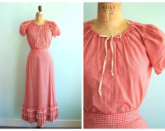 Vintage 1950's Red Gingham Blouse and Skirt Set | Size Small
