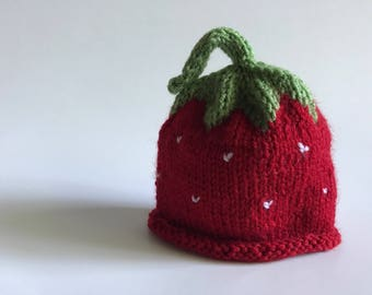 BERRY - Hand Knitted Baby Beanie / Hat (Newborn to 12 months) Strawberry
