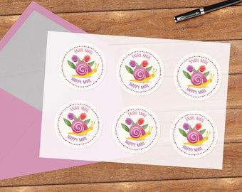Snail mail (flowers) - 12 stickers
