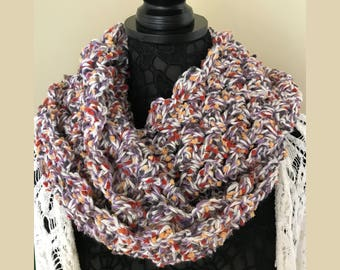 "Women's Crochet Infinity Scarf Multicolor -  Handmade 60"" circumference x 8.5"" wide - S21"
