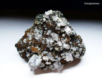 Fluorite Galena Siderite Mineral Specimen from Boltsburn Mine - Fluorescent Minerals