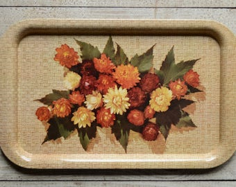 Autumn Flower Basket Weave Patterned Tin Serving Tray