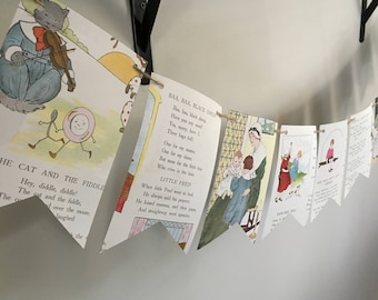 Mother Goose Nursery Rhymes book page banner bunting garland
