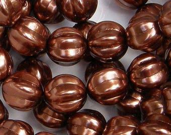 14mm Melon Bead, Bronze, Czech Glass Bead, (P12193), 8 count