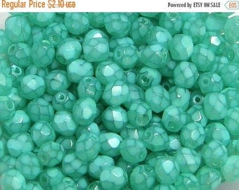ON SALE Fire Polish, Opal Turquoise, 6mm Round Bead, (37355), 25 count