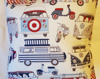 Navy / Red Campervan Cushion Cover