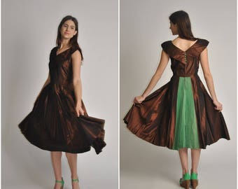 1950s Expresso and Green Taffeta dress | vintage 1950s dress | expresso and green taffeta 50s party dress