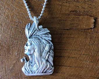 Sterling Silver Native American Indian Souvenir Spoon Handle Pendant