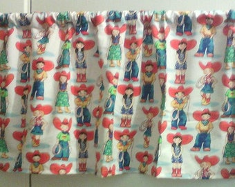 Window Curtain and Valance Cowboy Cowgirl
