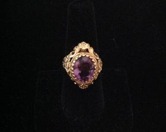 Antique Amethyst 14k Yellow Gold Ring