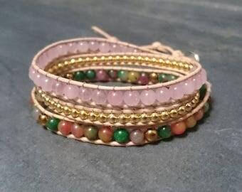 Bracelet wrap cuir et pierres semi-précieuses 3 tours - quartz rose hématite