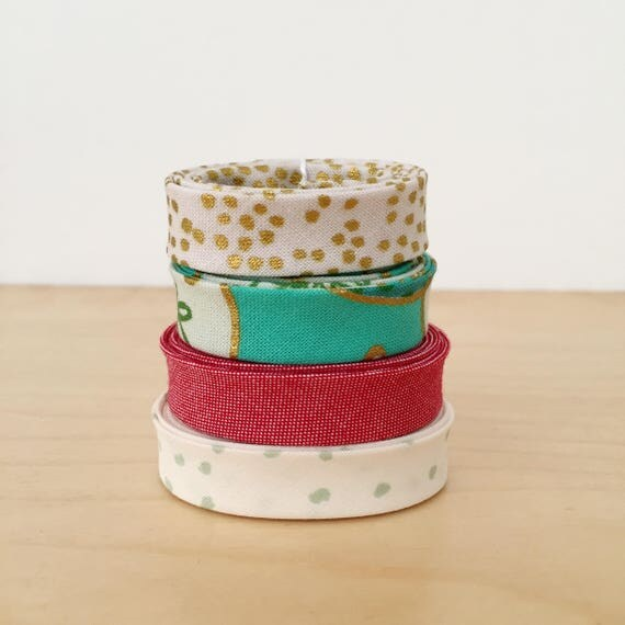 """Bias Tape Holiday Print Remnant Pack- 4 different cotton designer fabric 1/2"""" double-fold bindings"""