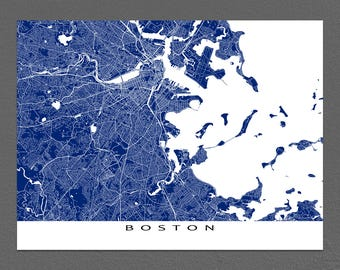 Boston Map Print, Boston Art, Boston Massachusetts, City Map Art