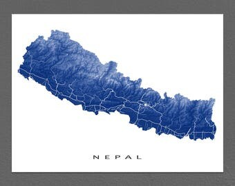 Nepal Map Print, Kathmandu Map Art Poster, Mount Everest