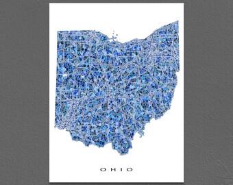 Ohio Map Artwork, Ohio Print, OH State Maps