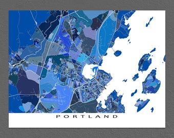 Portland Map Print, Portland Maine USA, City Street Art Maps, Blue