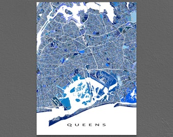 Queens Map Print, Queens New York City Art, NYC Wall Decor
