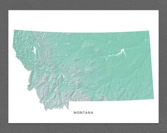 Montana Map Print, Montana State, Aqua, MT Landscape Art
