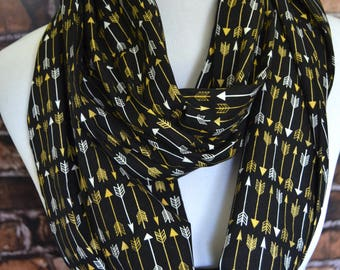 Arrow infinity scarf, gold metallic arrow scarf, gold white black arrow scarf