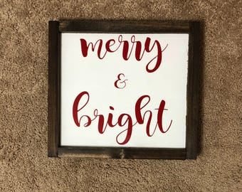 Merry and Bright Framed Sign / Christmas Wood Sign / Merry and Bright Sign / Christmas Decor