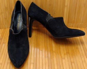 Vintage black suede heels-nice leather pumps-gothic shoes