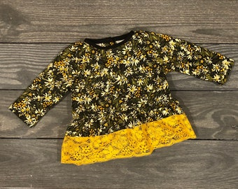 Infant Girls Peplum Top in Olive Green and Mustard Yellow Daisy Pattern