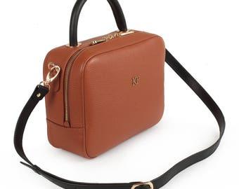 Leather Top Handle Bag, Ginger Leather Handbag Top Handle, Women's Leather Bag KF-1488