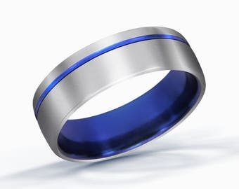 Blue Ring, Wedding Band, Titanium Ring, Thin Blue Line Ring