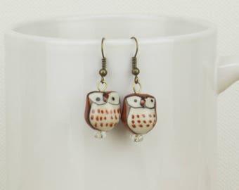 Owl Dangle Earrings, Owl Earrings, Ceramic Earrings, Nature Earrings, Dangle and Drop Earrings, Owl Lover Earrings, Outdoor Lover Earrings