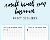 Option 2: Small brush pen beginner   calligraphy practice worksheets, drills, alphabet and numbers. Printable workbook + iPad Procreate