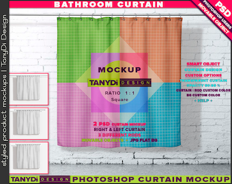Bathroom Square Shower Curtain   Photoshop Curtain Mockup BC-M1-1   Movable curtain on brick tiles wall   Smart Object Custom colors