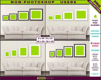 Wall Display Guide | 4 Print Sizes | Non-Photoshop | 4 PNG Sofa Interior Scenes | Portrait Landscape Black & White wooden frames