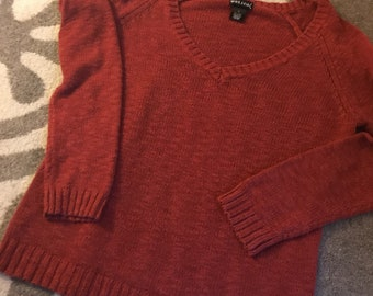 Wet Seal Burnt Orange V-Neck Sweater Size S