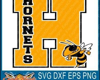 Hornets| Varsity Letter| SVG| DXF| EPS| Png| Digital Cut File| Mascot| Sports Mom Designs| Football| Basketball| Silhouette| Cricut