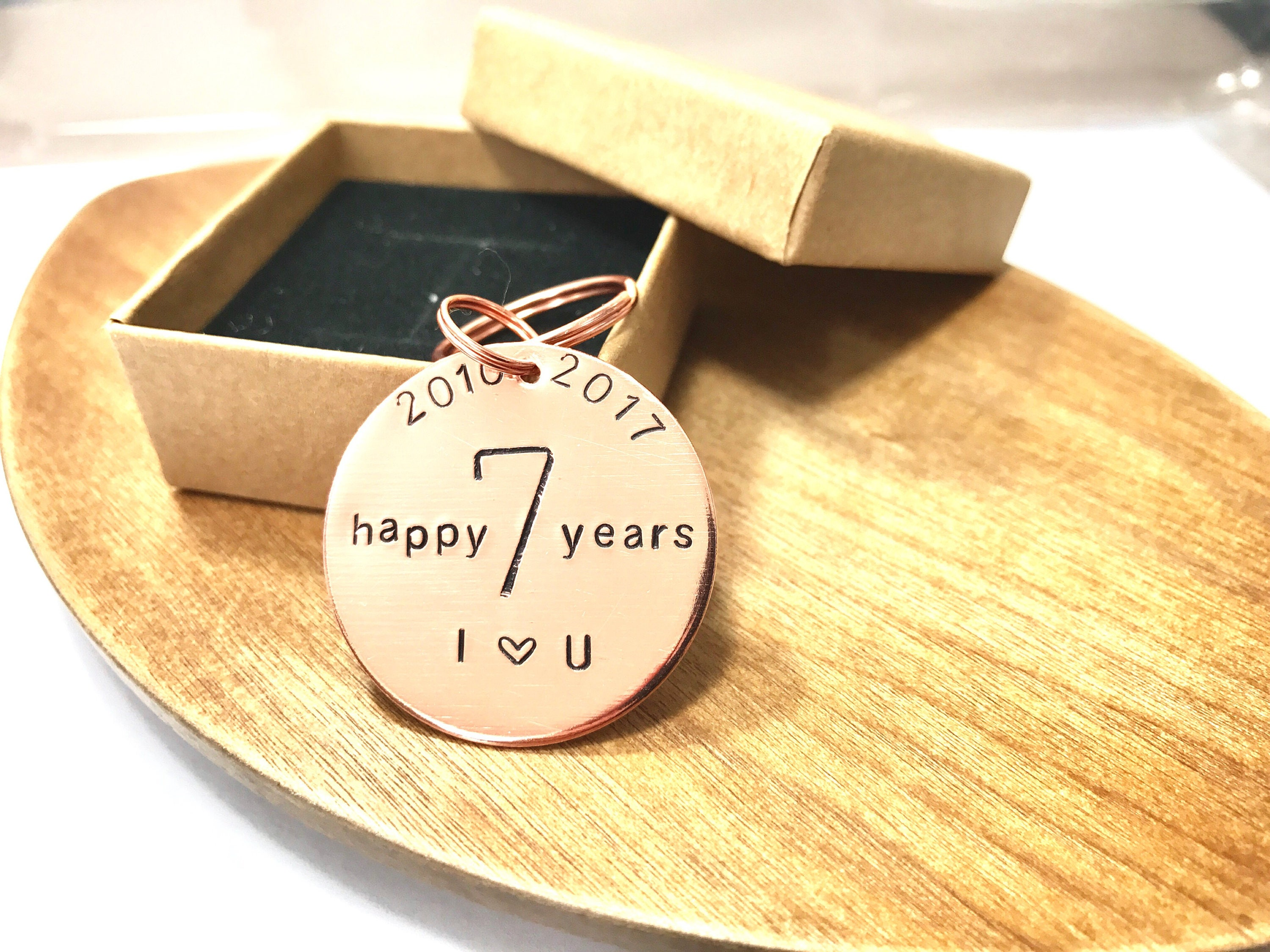 Th anniversary copper keyring hand stamped happy years for him