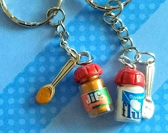 BFF Peanut Butter and Fluff/Jelly Keychains, Miniature Food Jewelry, Inedible Jewelry, BFF Keychains, Best Friends Jewelry, Kawaii Jewelry